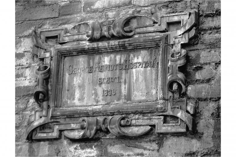 "Detail of wall plaque inscribed ""George Heriot's Hospital School 1839"" above East doorway"