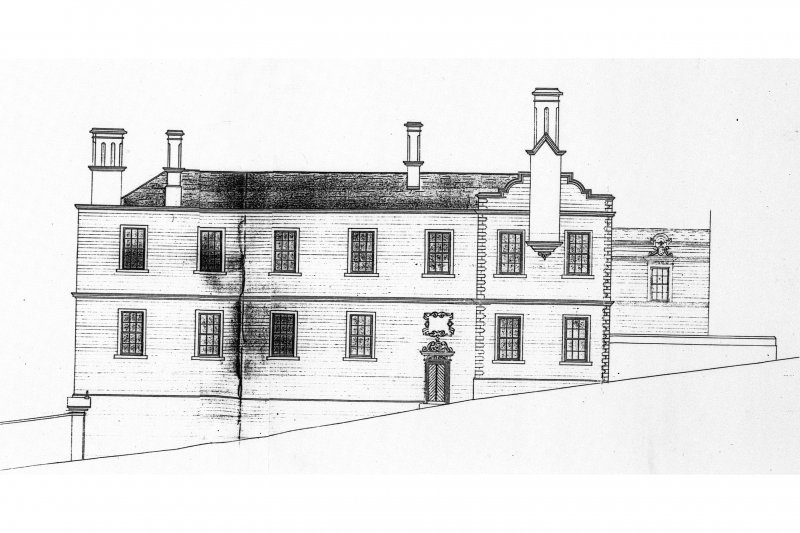 Photographic copy of drawing showing Front Elevation of George Heriot's Hospital School-attributed to Alexander Black
