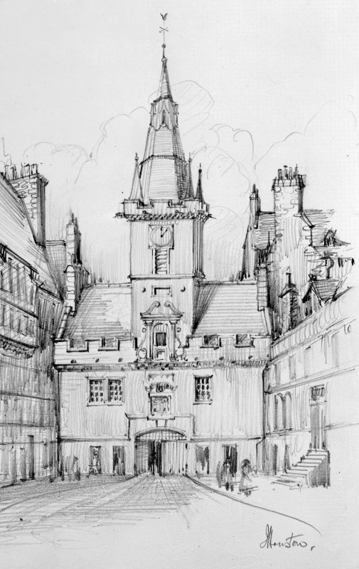 Photographic copy of drawing by J Houston showing Netherbow Port