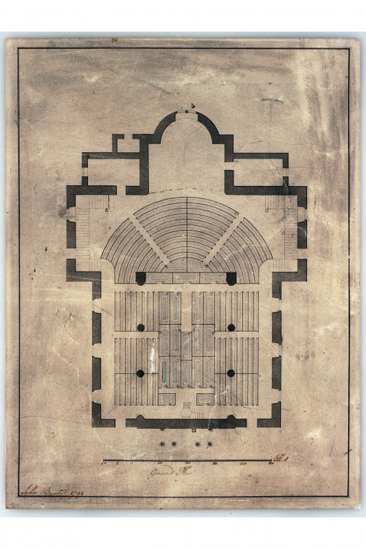 Photographic copy of pen and wash seating plan for Canongate Church, signed and dated 'John Baxter 1794'