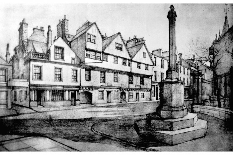 Huntly House Photographic copy of pencil drawing showing 142 - 154 Canongate and Burgh Cross from North East