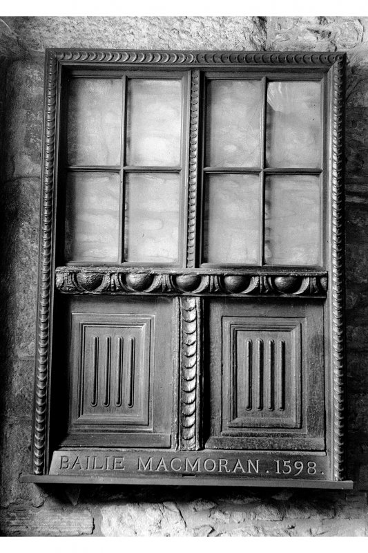 Huntly House View of half-timbered window, window insc: 'Bailie MacMoran. 1598.'