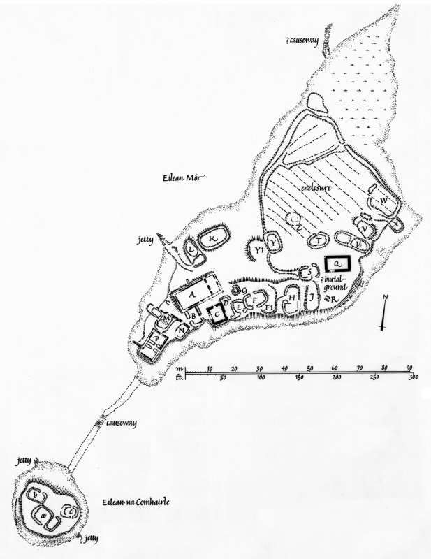 Finlaggan Castle, Islay. Photographic copy of plan of castle and chapel on Eilean Mor and Eilean na Comhairle.
