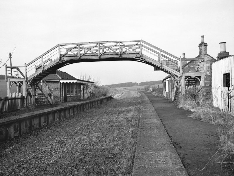 View of Hassendean Station platform on the old Edinburgh to Hawick Branch Railway looking NNE. The line was closed in 1969.