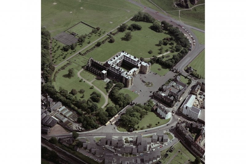 Aerial view showing Holyrood Palace and Abbey, plus part of Abbeyhill