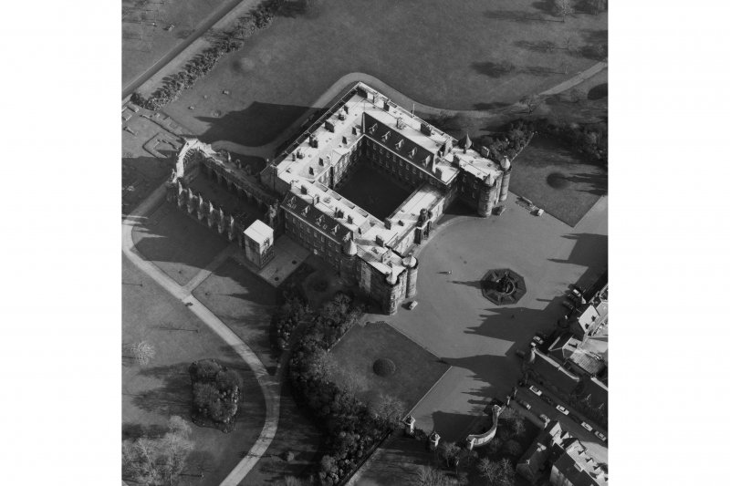 Aerial view of Holyrood Palace and Abbey, with Fountain also visible