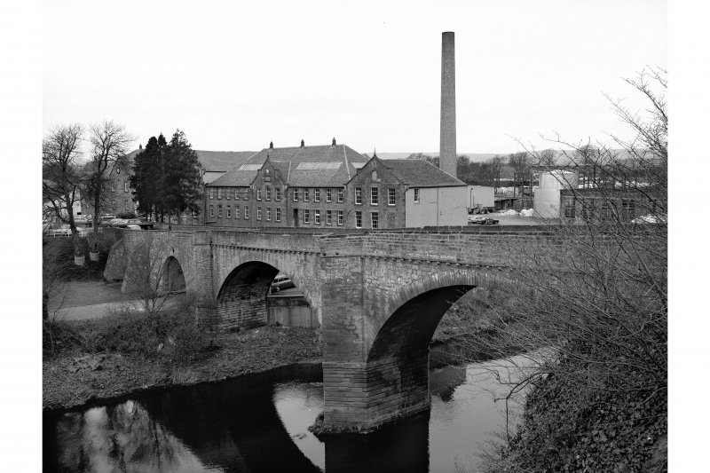 Chirnside Bridge and Chirnsidebridge Paper Mill View along bridge from ESE with mill in background