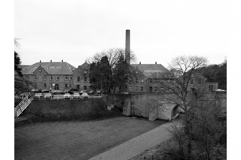 Chirnsidebridge Paper Mill General view of paper mill and chimney from SE