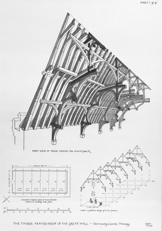 Photographic copy of drawing showing part view and plan of the timber framed roof of the Great Hall.