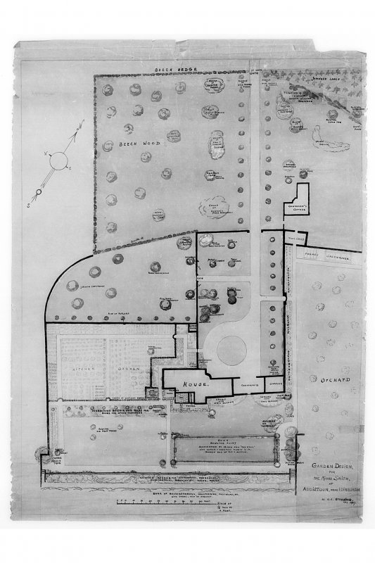 Photographic copy of drawing of Garden Design at Addistoun House. Insc. 'Garden design, for the Misses Smith, at Addistoun, near Edinburgh, by M. E. Stebbing, May 1937'. Signed: 'M. E. Stebbing' Size: 910mm by 680mm NMRS Survey of Private Collections, Addistoun House.