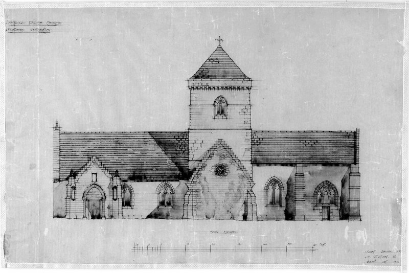 Whitekirk, Parish Church. Photographic copy of drawing of proposed restorations on South elevation. Insc: 'Whitekirk Parish Church, Proposed Restoration', 'South Elevation', Robert Lorimer A.R [S.A.], 17 Gt Stuart St., Edinr, Oct. 1914'.
