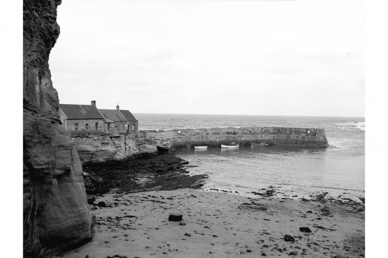Cove Harbour View of N pier and harbour buildings from SW