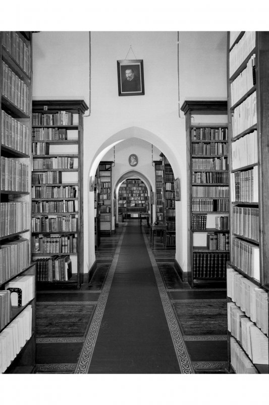 Fort Augustus Abbey, interior. View of library.