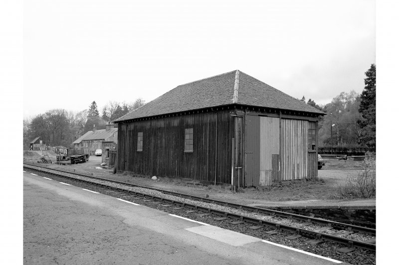 Blair Atholl Station View from SE showing wooden goods shed and railway cottages