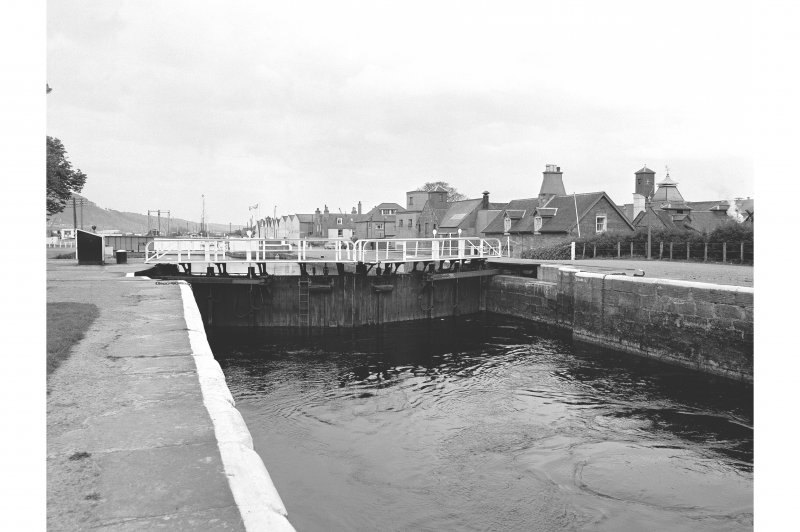 Inverness, Muirtown Locks View from N showing Caledonian Canal, bottom lock gate and Lock-keeper's Cottages