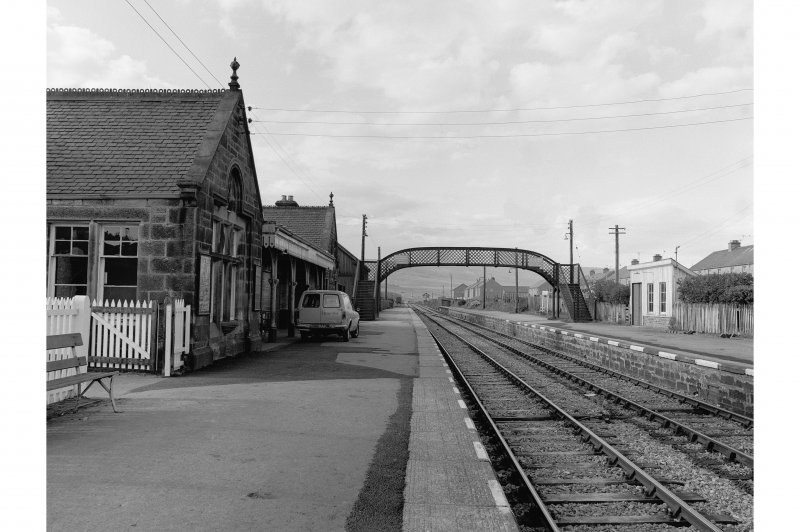 Brora, Victoria Road, Station Platform view looking N and showing footbridge