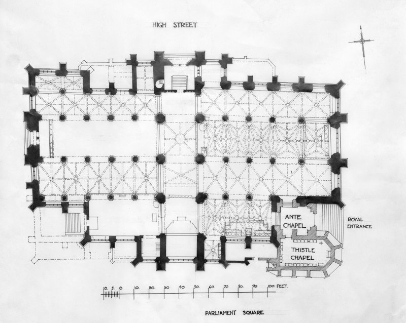 Photographic copy of plan of St Giles' Cathedral drawn c1910