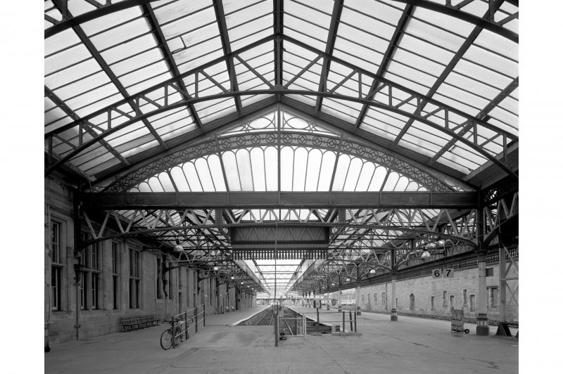 View showing ornate steel framed glass canopy adjacent to platforms 5 and 6, Perth Railway Station.
