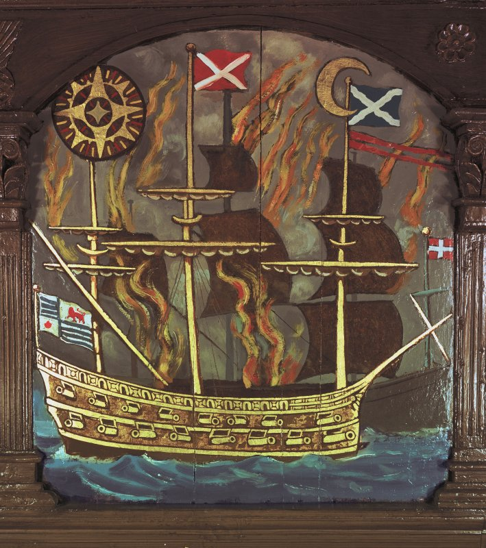 Painted panel on south gallery front showing a ship in flames