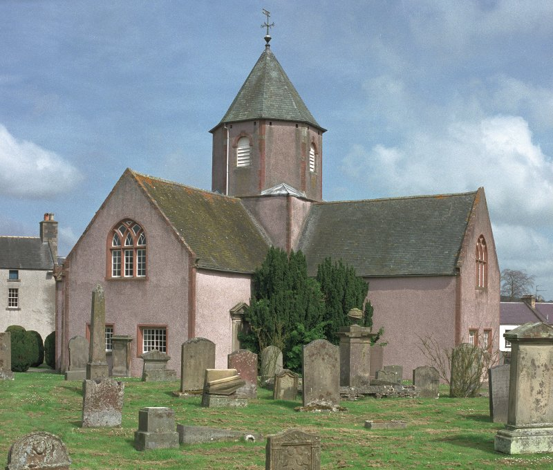Scan of D 46634/CN. View of St Mary's Church and churchyard.