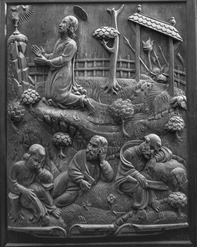 Traquair House chapel, interior Detail of carved oak panel showing the Agony in the Garden