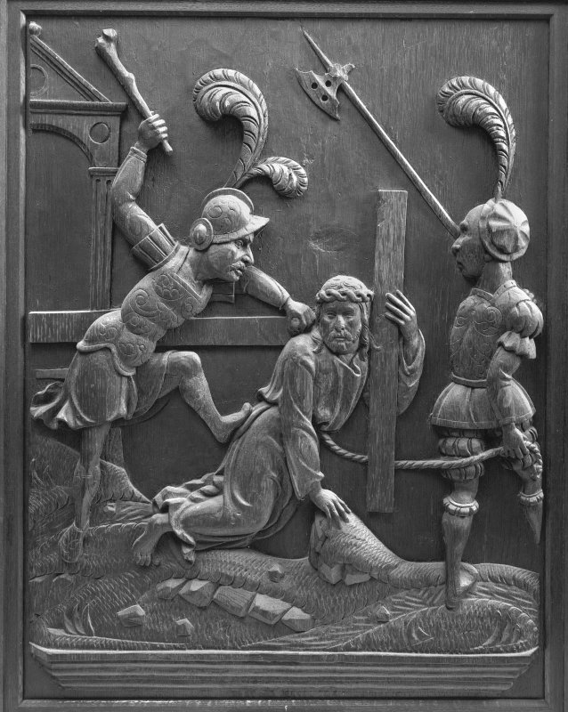 Traquair House chapel, interior Detail of carved oak panel showing the Road to Calvary