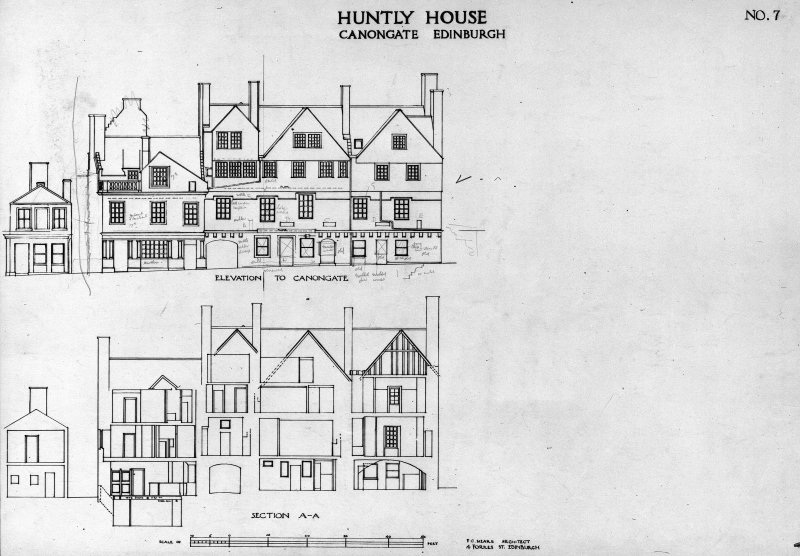 "Measured front elevation of to Canongate, and tranverse section A-A.  Insc: 'HUNTLY HOUSE  CANONGATE  EDINBURGH  NO.7'.  1"":8'"