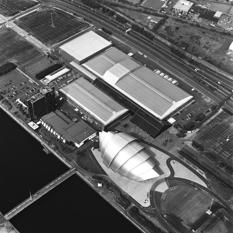 Oblique aerial view of the SECC.