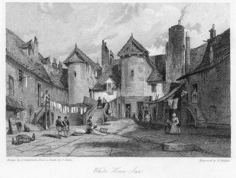 Engraving of White Horse Inn, Edinburgh, from South Titled: 'Drawn by G Cattermole, from a sketch by J. Skene  Engraved by E. Findon  White Horse Inn  Waverley  London, Published June 1831 by Charles Tilt, 86 Fleet Street.'