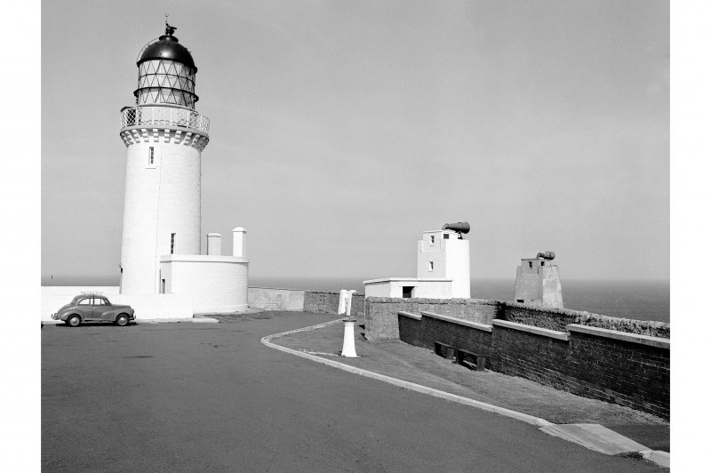 Dunnet Head Lighthouse View from ESE showing tower and directable foghorns