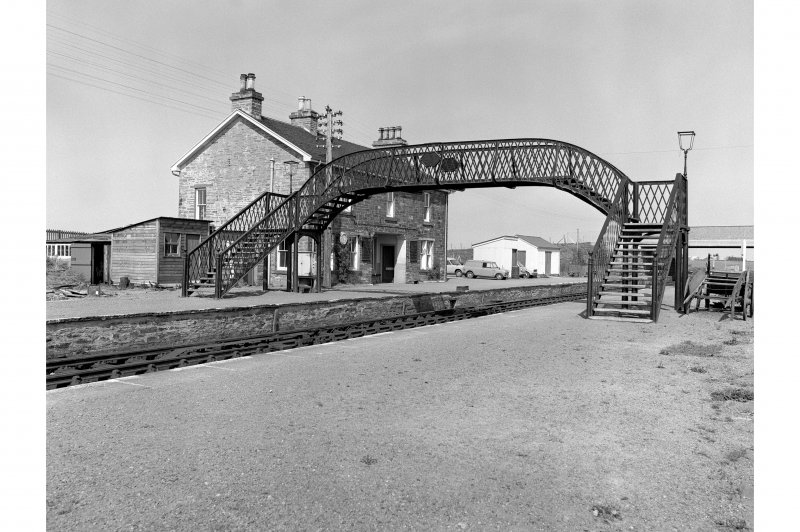 Georgemas Junction Station View from SW showing footbridge and station building