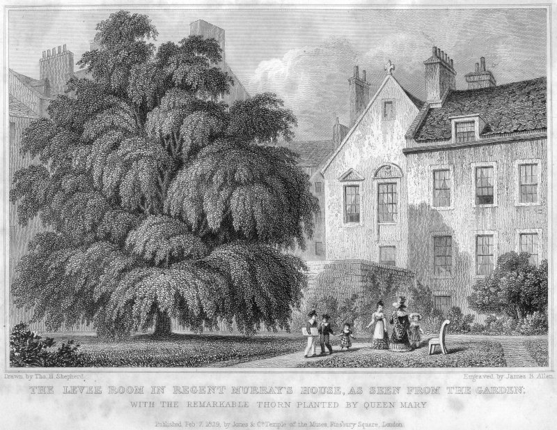 Engraving showing Moray House, Edinburgh, from the rear. Titled: 'Drawn by Tho. H. Shepherd  Engraved by James B. Allen.  THE LEVEE ROOM IN REGENT MURRAY'S HOUSE, AS SEEN FROM THE GARDEN  WITH THE REMARKABLE THORN PLANTED BY QUEEN MARY  Published Feb. 7, 1829, by Jones & Co. Temple of the Muses, Finsbury Square, London.'