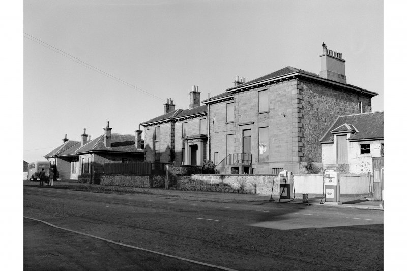 Lossiemouth Station View from SW showing station building and steamboat and Railway Hotel