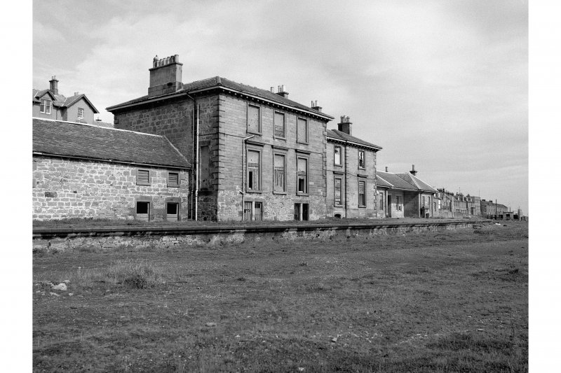 Lossiemouth Station View from SE showing station building and Steamboat and Railway Hotel