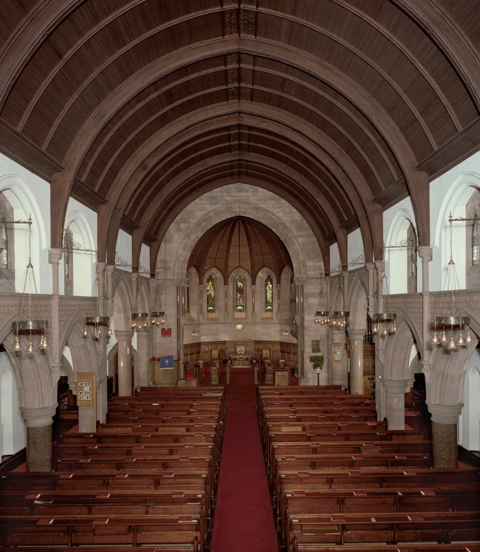 Scanned image of view of interior looking toward chancel.