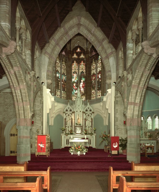 Interior.  View of sanctuary from N