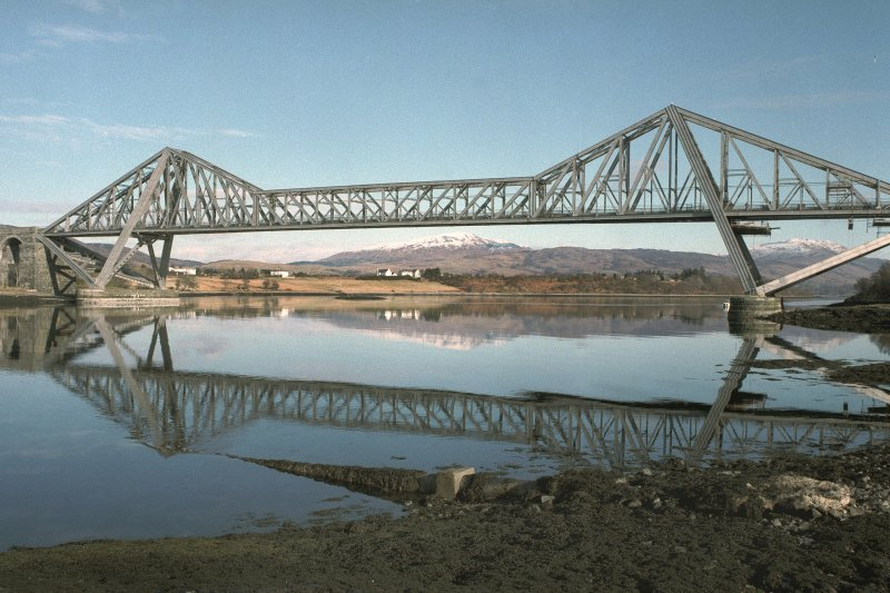 View of Connel Ferry Railway Bridge from SSW. It now carries the Oban-Ballachulish (A828) road.