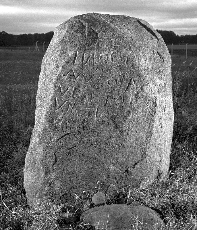 View of inscribed east face of the Cat Stane.