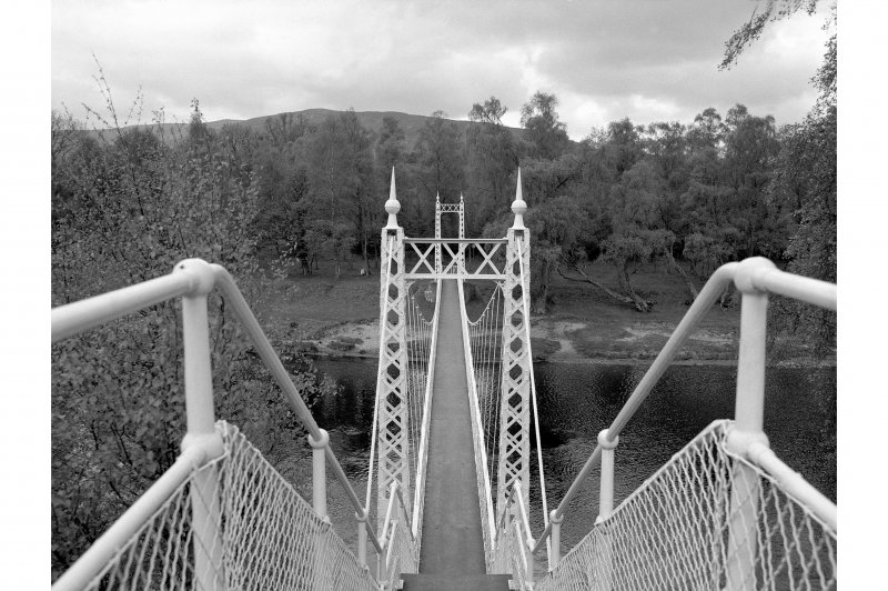 Cambus O' May, Suspension Bridge View from top of raised walkway, looking WSW from E end of bridge