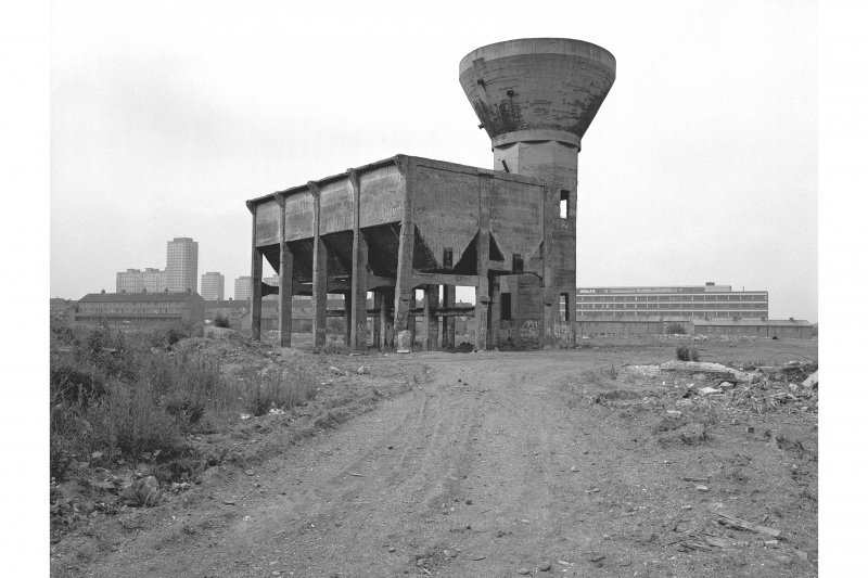 Robroyston Colliery, Seperator Tower and Bunkers General view from E