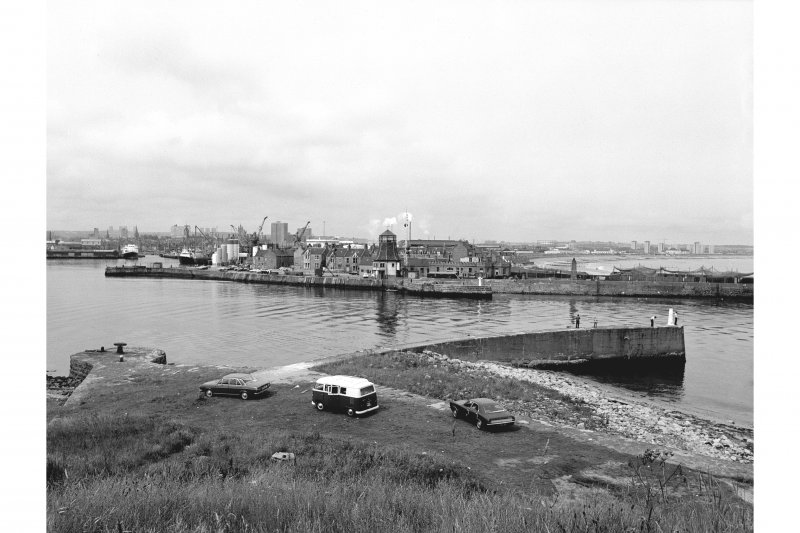 Aberdeen Harbour General view from SE showing harbour, jetty and port entrance control tower