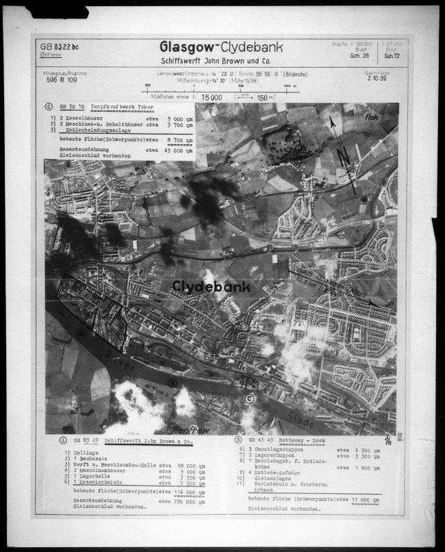 Scanned image of Luftwaffe vertical air photograph of the Clydebank area.