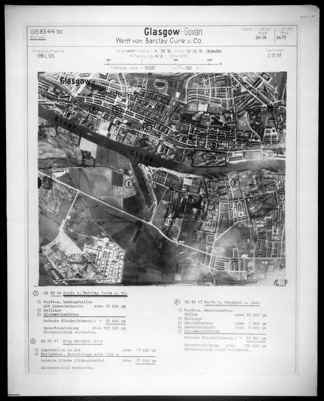 Scanned image of Luftwaffe vertical air photograph of the Govan area of Glasgow.