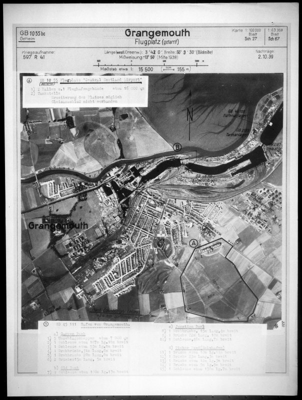 Lufwatffe vertical air photograph of Grangemouth including the airfield.