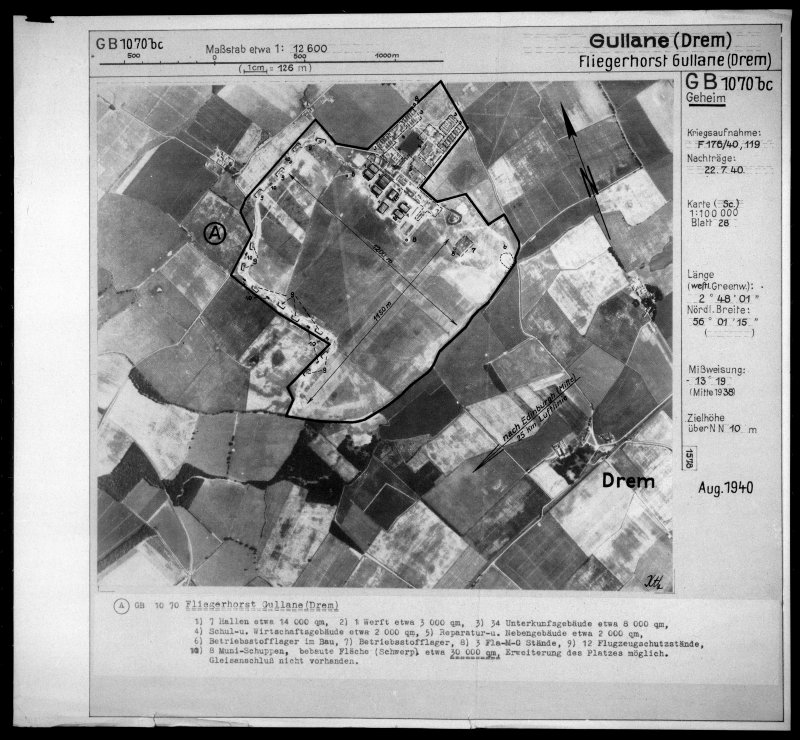 Scanned image of Luftwaffe vertical air photograph of Drem Airfield.