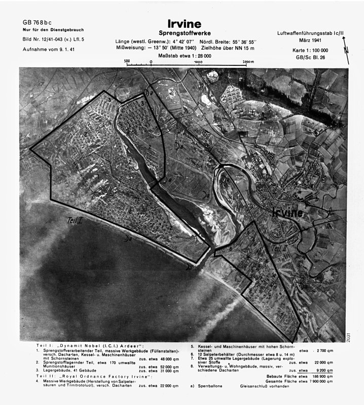 Scanned image of Luftwaffe vertical air photograph of 	the Nobel Explosives Works at Ardeer, Irvine.