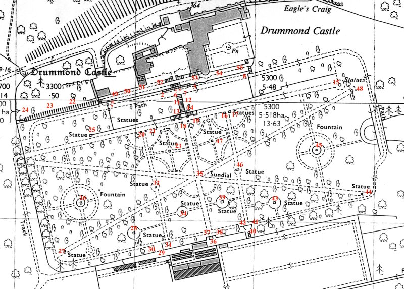 Drummond Castle Gardens Annotated plan to statuery photography based on Ordnance Survey map.
