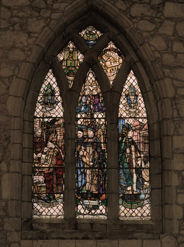 St Machar's Cathedral. Detail of stained glass window by Douglas Strachan, depicting Bishops Kyninmund, Lichton and Elphinstone.