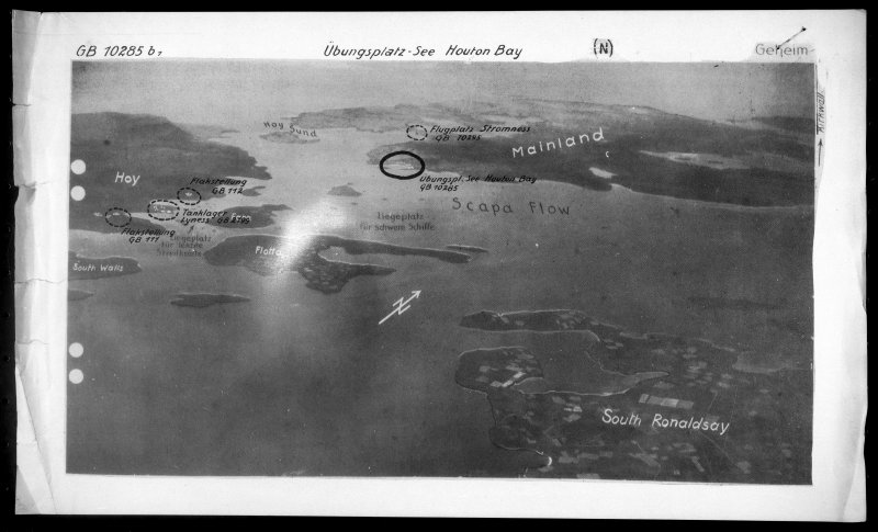 Scanned image of Luftwaffe oblique annotated aerial view of Scapa Flow and Hoy, Orkney Islands