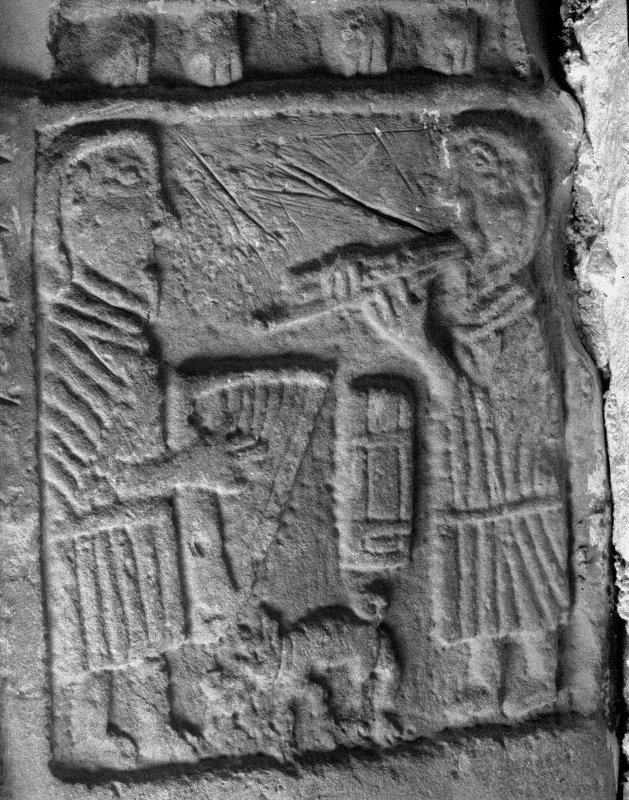 General view of Pictish cross-slab carving re-used as stair lintel, Lethendy Tower.